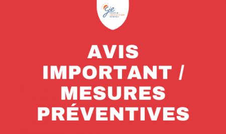 Avis important – Coronavirus (COVID-19) – Important Notice